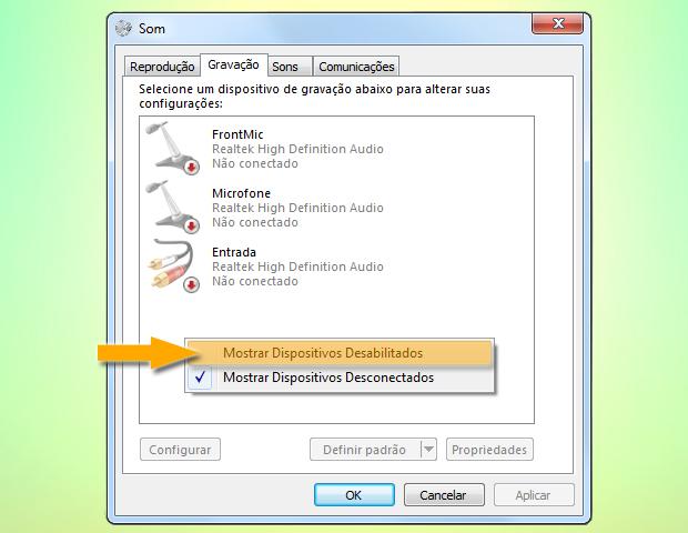 Mostrando dispositivos desabilitados (Foto: reprodução / Flávio Renato)