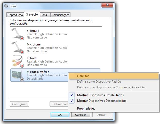Habilitando entrada de áudio (Foto: reprodução / Flávio Renato)