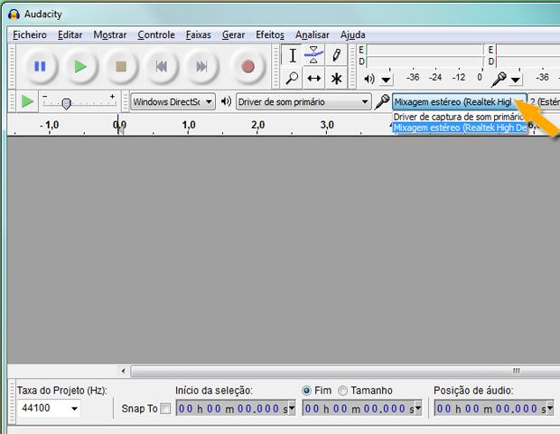 Configurando Audacity para captar áudio do computador (Foto: reprodução / Flávio Renato)