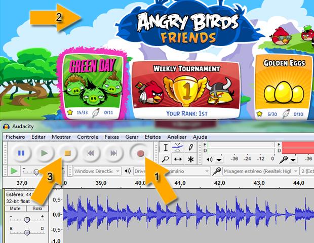 Gravando áudio do jogo Angry Birds no Audacity (Foto: reprodução / Flávio Renato)