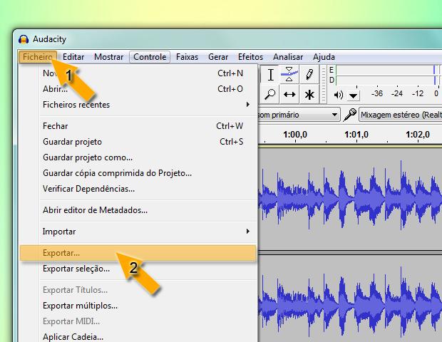 Salvando áudio no Audacity (Foto: reprodução / Flávio Renato)
