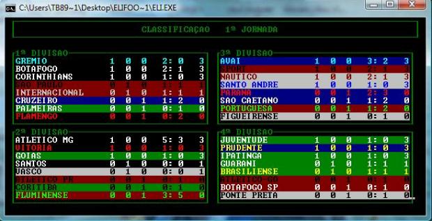 Após cada rodada, classificação dos campeonatos aparecem (Foto: Reprodução)