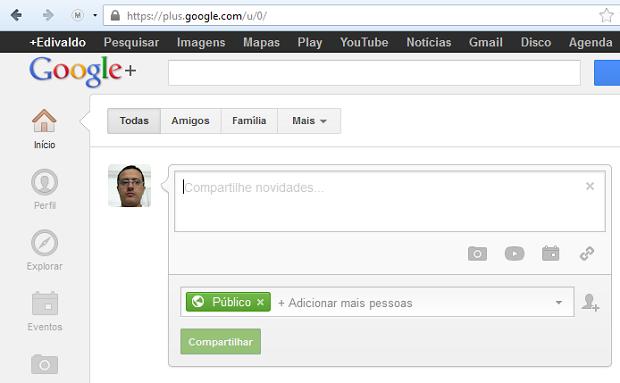Iniciando uma mensagem no Google + (Foto: Reprodução/Edivaldo Brito)