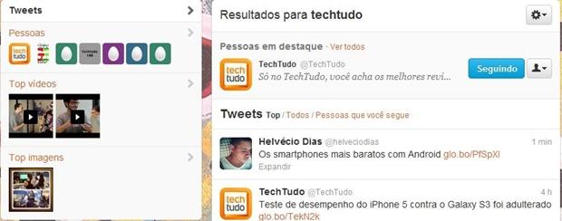Divisão entre tweets, pessoas, vídeos e imagens (Foto: Reprodução/ Raquel Freire)