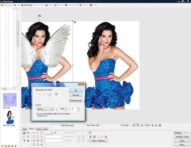 Abra a foto do Clipboard e configure como no modelo (Foto: Reprodução/Raquel Freire)