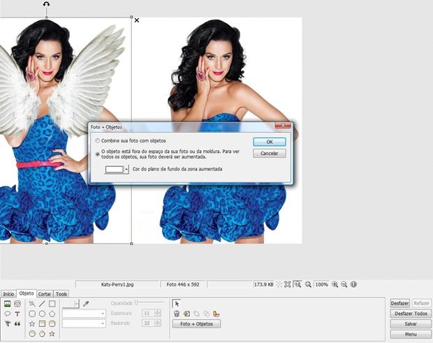 """Clique em """"Foto + Objetos"""" para alinhar as duas imagens (Foto: Reprodução/Raquel Freire)"""