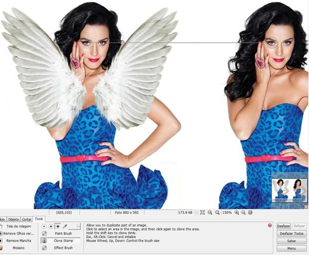 """Com a ferramenta """"Clone Stamp"""" selecionada, clique em pontos simétricos das duas fotos (Foto: Reprodução/Raquel Freire)"""