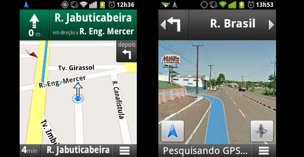 Trajeto no navegador GPS com mapa e vista de rua (Foto: Reprodução/Helito Bijora)