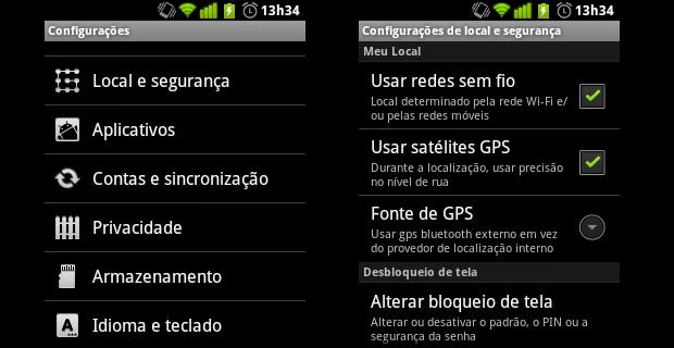 Configurações do Android (Foto: Reprodução/Helito Bijora)