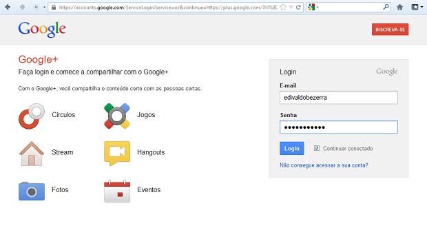Acessando o serviço Google+ (Foto: Reprodução/Edivaldo Brito)