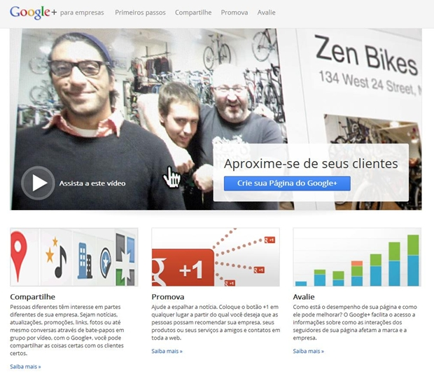 Página inicial do Google+ Business (Foto: Reprodução/ Raquel Freire)