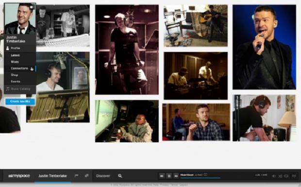Página de Justin Timberlake no novo Myspace (Foto: Reprodução/The Next Web)