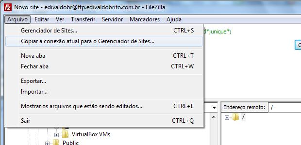 Copiando a conexão atual para o Gerenciador de sites do Filezilla (Foto: Reprodução/Edivaldo Brito)