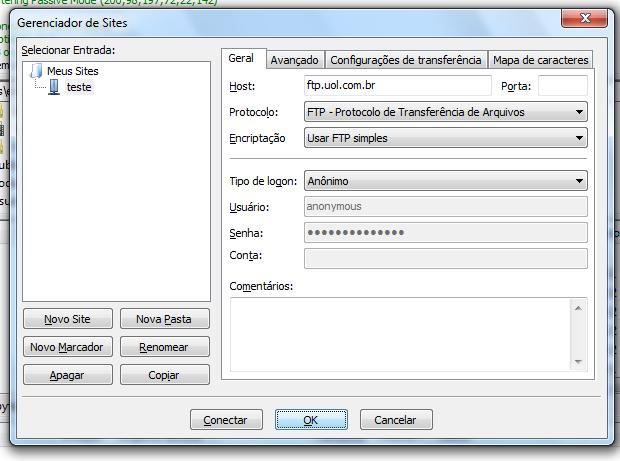 Colocando os dados do novo site no Gerenciador de sites do Filezilla (Foto: Reprodução/Edivaldo Brito)
