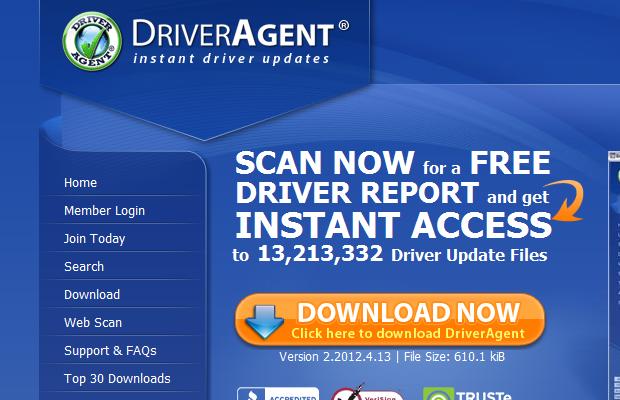 Página do serviço de busca de drivers DriverAgent (Foto: Reprodução/Edivaldo Brito)