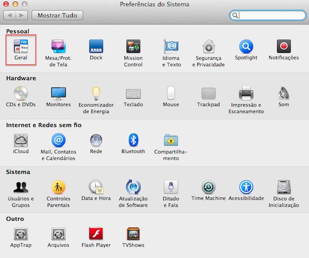 Opções do Mac OS X (Foto: Reprodução/Helito Bijora)