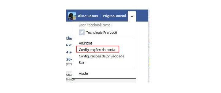 Acessando as configurações de conta no Facebook  (Foto:  Aline Jesus/Reprodução)