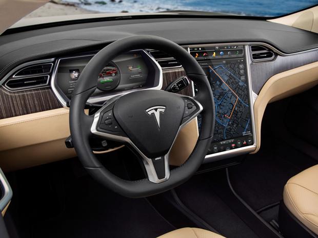 Interior do automóvel Tesla Model S (Foto: Divulgação)
