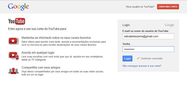 Acessando a conta do YouTube (Foto: Reprodução/Edivaldo Brito)