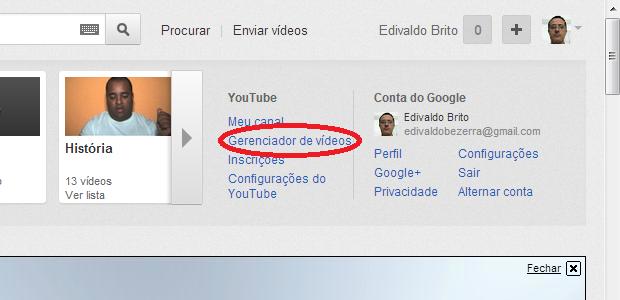 Acessando o Gerenciador de vídeos no menu de opções do YouTube (Foto: Reprodução/Edivaldo Brito)