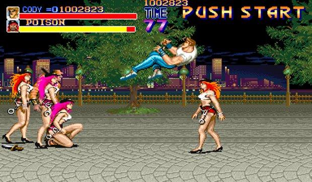 Poison (de cabelo roxo) e Roxy em Final Fight (Foto: Divulgação)