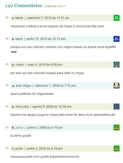 Comentários das crianças no Migux (Foto: Reprodução)