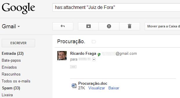 """Ao pesquisar por """"Juiz de Fora"""", o Gmail exibe uma mensagem sem qualquer texto, mas cujo anexo possui o termo pesquisado (Foto: Reprodução/Ricardo Fraga)"""