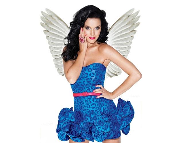Montagem de foto da cantora Katy Perry com asas de anjo (Foto: Reprodução/Raquel Freire)