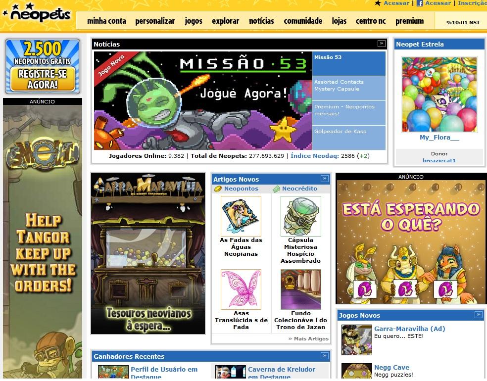 Interface do site Neopets (Foto: Reprodução)