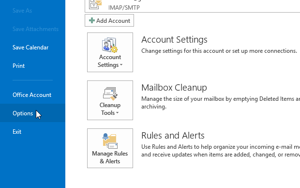 Acessando opções do Outlook (Foto: Reprodução/Helito Bijora)
