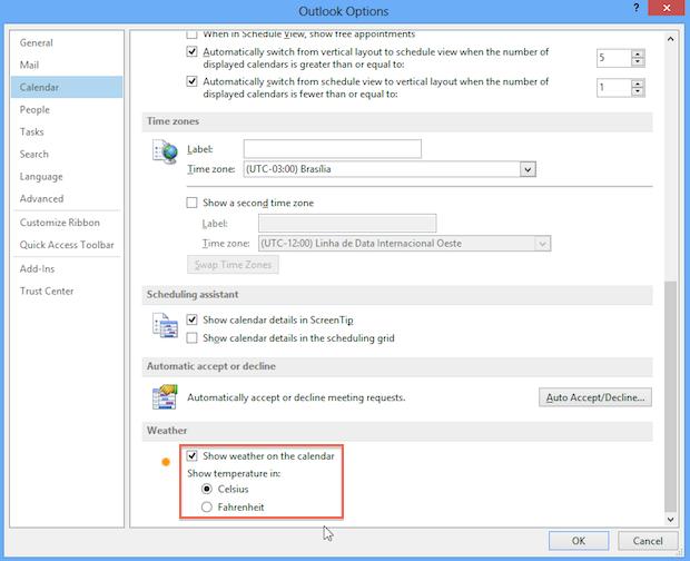 Configurações do Outlook (Foto: Reprodução/Helito Bijora)