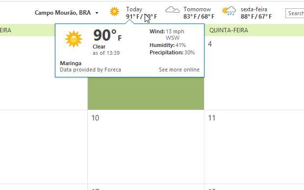 Outlook 2013 traz temperatura em Fahrenheit (Foto: Reprodução/Helito Bijora)