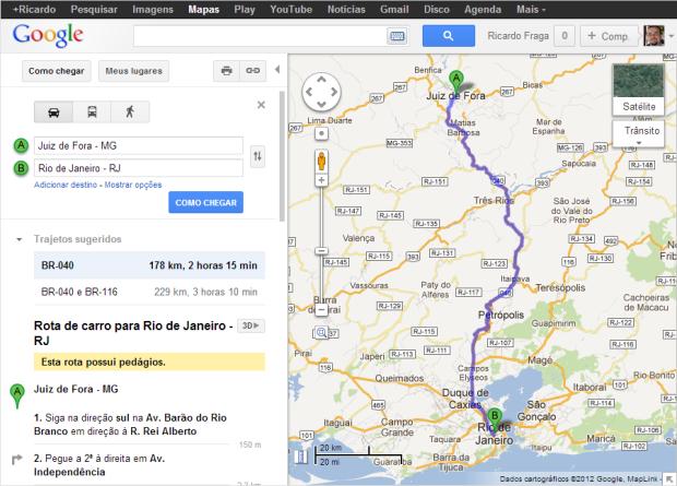 """Recurso """"direções"""" do Google Maps permite que os usuários tracem rotas entre dois ou mais pontos (Foto: Reprodução/Ricardo Fraga)"""