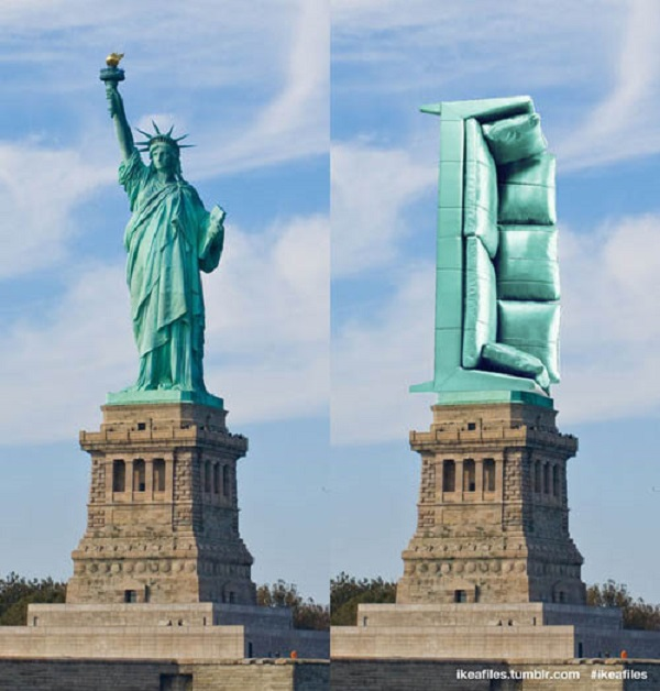 Até a estátua da Liberdade foi trocada (Foto: Reprodução)