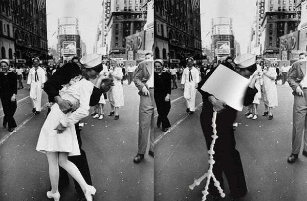 Casal de foto histórica virou meme (Foto: Reprodução)