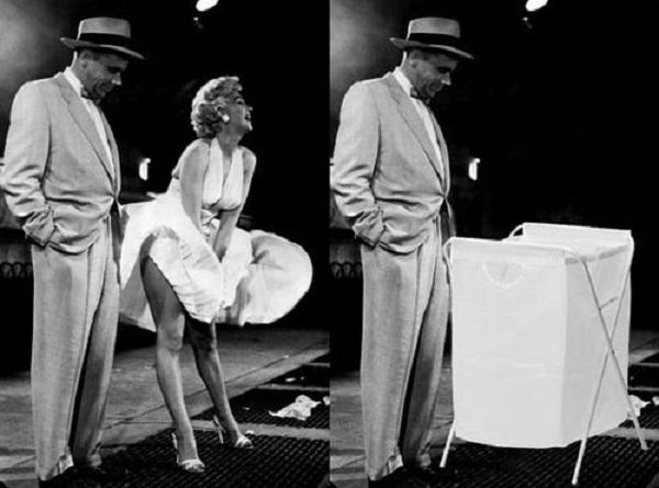 Marilyn Monroe foi substituída por cesto de roupas (Foto: Reprodução)