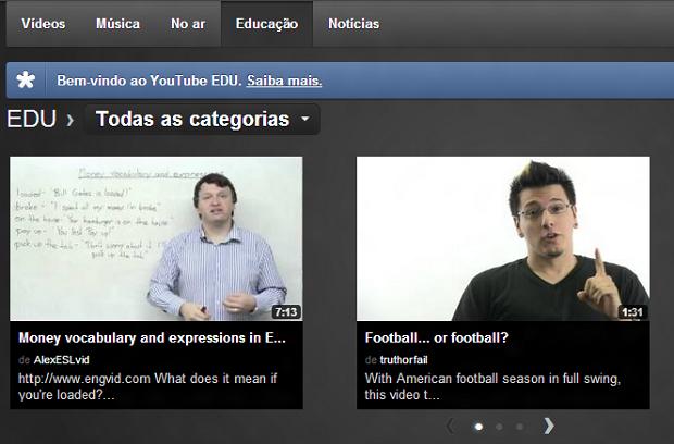 YouTube tem área dedicada à educação (Foto: Reprodução)