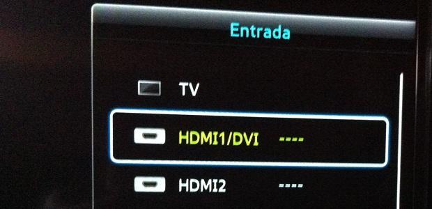 Selecionando a entrada HDMI que está a Apple TV (Foto: Reprodução/Edivaldo Brito)