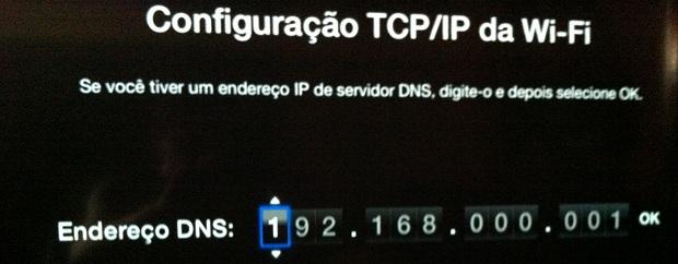 Digitando o endereço IP do servidor DNS da rede (Foto: Reprodução/Edivaldo Brito)