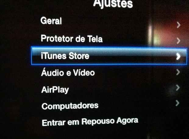 """Acessando a opção """"iTunes Store"""" na Apple TV (Foto: Reprodução/Edivaldo Brito)"""