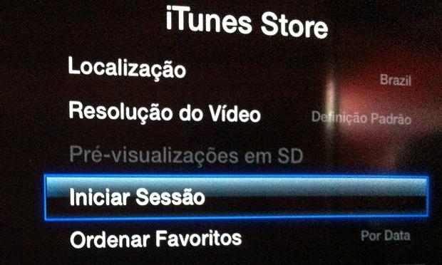 """Acessando a opção """"Iniciar Sessão"""" na Apple TV (Foto: Reprodução/Edivaldo Brito)"""