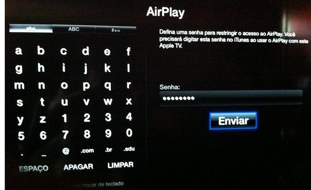 """Criando a senha para acesso ao recurso """"AirPlay"""" da Apple TV (Foto: Reprodução/Edivaldo Brito)"""