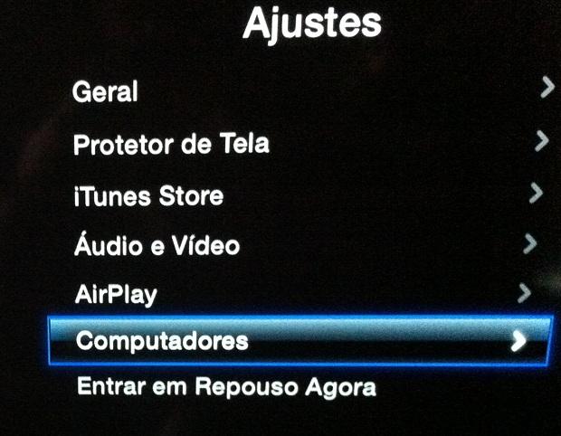 """Acessando a opção """"Computdores"""" na Apple TV (Foto: Reprodução/Edivaldo Brito)"""