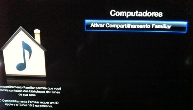 """Selecionando a opção """"Ativar Compartilhamento Familiar"""" na Apple TV (Foto: Reprodução/Edivaldo Brito)"""