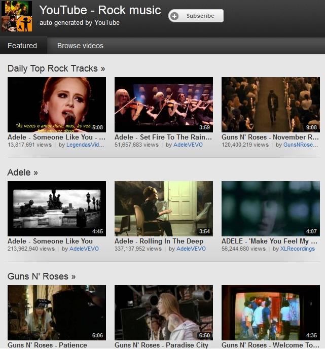 """Videoclipes selecionados pela categoria """"Rock"""" (Foto: Reprodução)"""