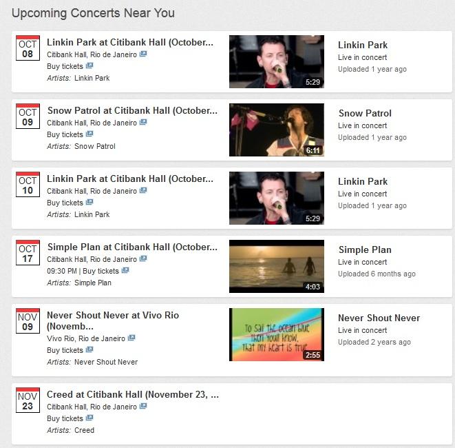 YouTube música informa shows (Foto: Reprodução)