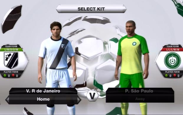 Vasco e Palmeiras com seus respectivos uniformes genéricos em Fifa 13 (Foto: Reprodução TechTudo)