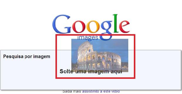 Arraste a imagem para o campo de buscas e uma mensagem surgirá informando onde colocá-la (Foto: Reprodução/Júlio Monteiro)