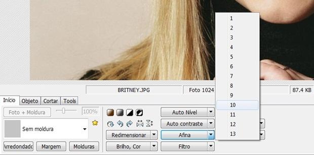 """No comando """"Afina"""", selecione """"10"""" (Foto: Reprodução/Raquel Freire)"""