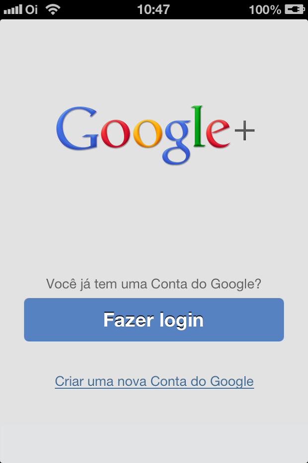 Iniciando o logins no app Google+ (Foto: Reprodução/Edivaldo Brito)